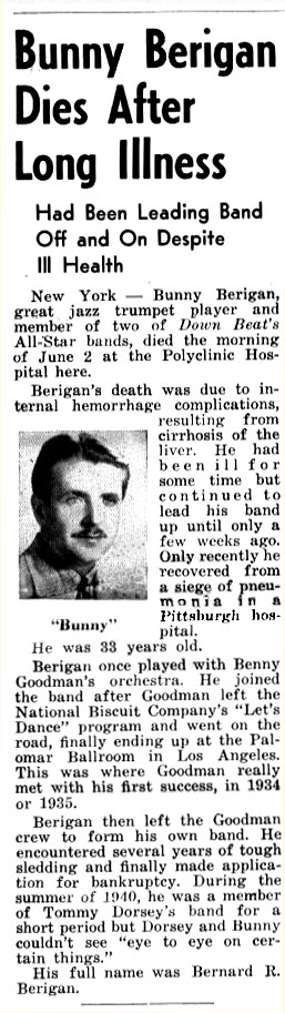 Bunny Berigan Downbeat Magazine Obituary