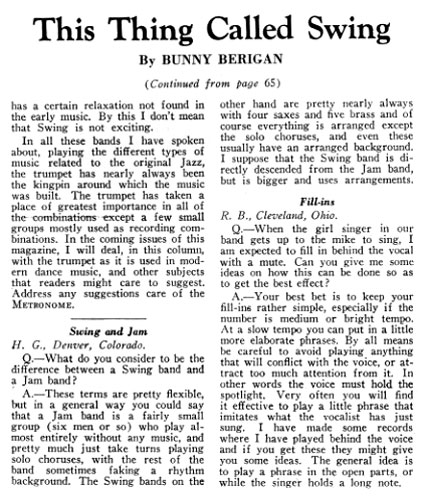 Bunny Berigan metronome magazine Article June 1936 continued